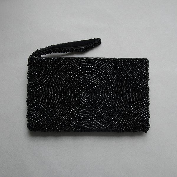 Black beaded clutch